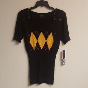NWT XOXO Argyle Knit Blouse